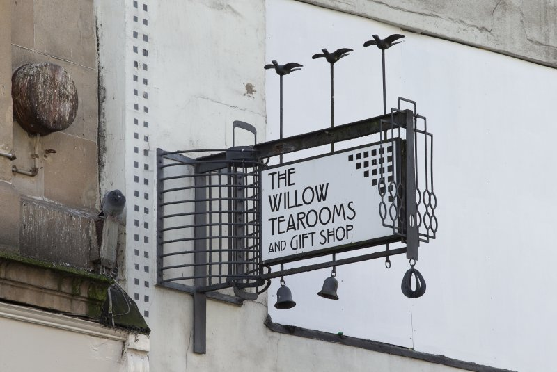 The Willow Tea Rooms, Sauchiehall Street, Glasgow. Detail of sign at east end shopfront