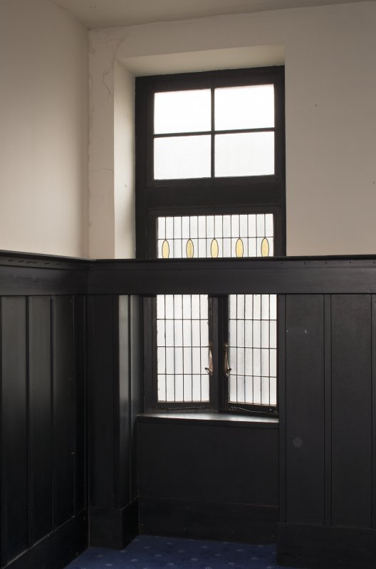 2nd floor, billiard room, view of stained glass window to south