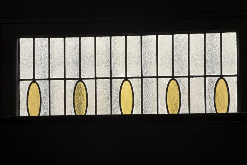 2nd floor, billiard room, detail of stained glass window to south