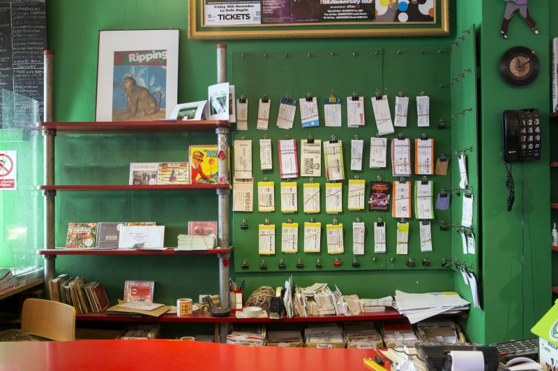 View of tickets behind counter.