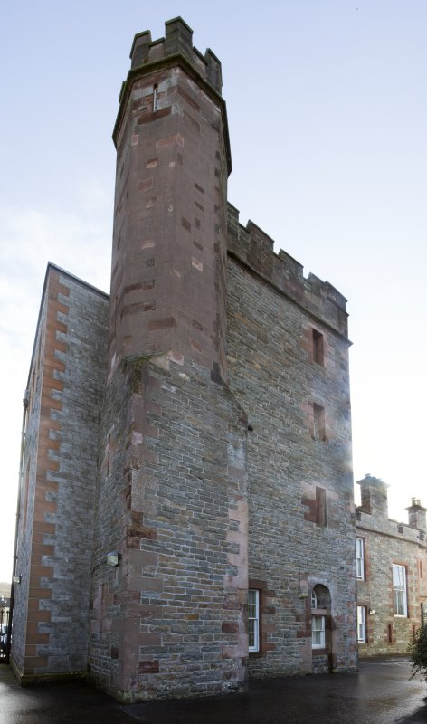 Exterior. General view of Kirkcudbright Sherrif Court House, taken from the north west.