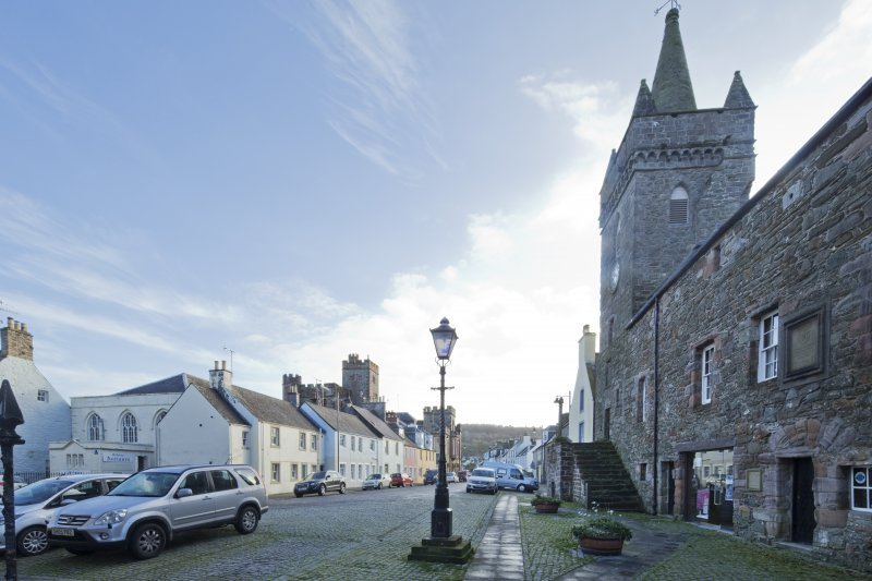 Exterior. General view of of the High Street and Kirkcudbright Sherrif Court House, taken from west.