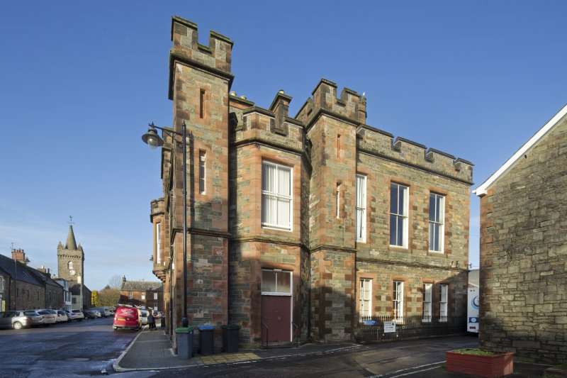 Exterior. General view of Kirkcudbright Sherrif Court House, taken from the east.
