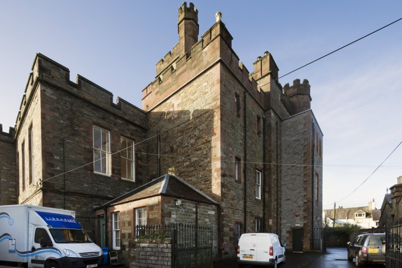 Exterior. General view of Kirkcudbright Sherrif Court House, taken from the north east.