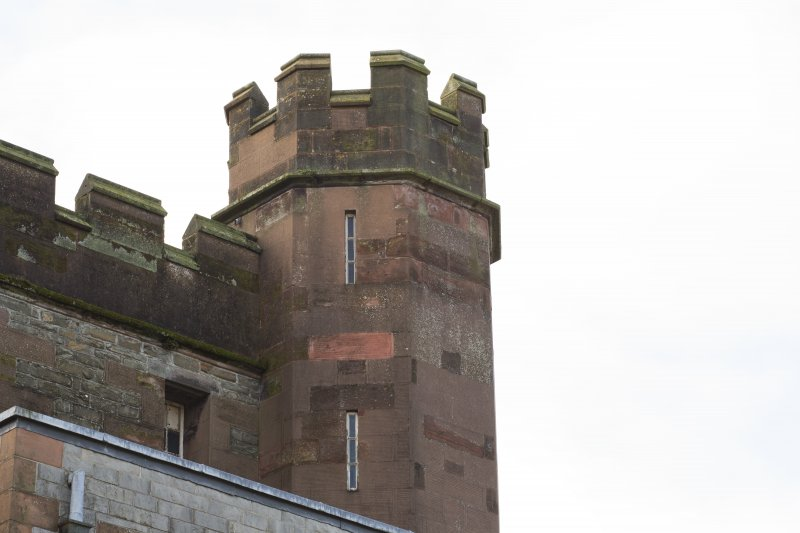 Exterior. Detail of castellated turret taken from the north west.