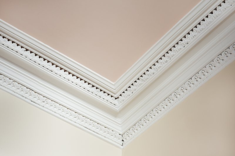 Interior. First floor. Detail of cornice in Sherrif Room.