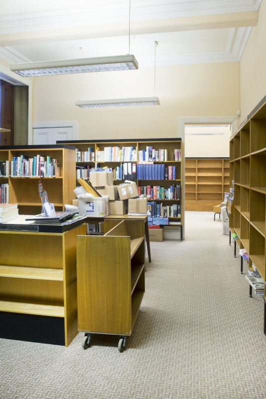 Interior. Ground floor. General view of library.