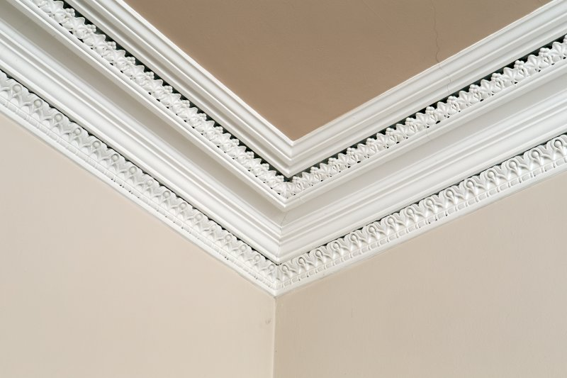 Interior. Ground floor. Detail of cornice south west witness room.