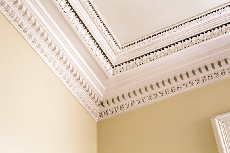 Interior. First floor. Detail of cornice in south witness room.