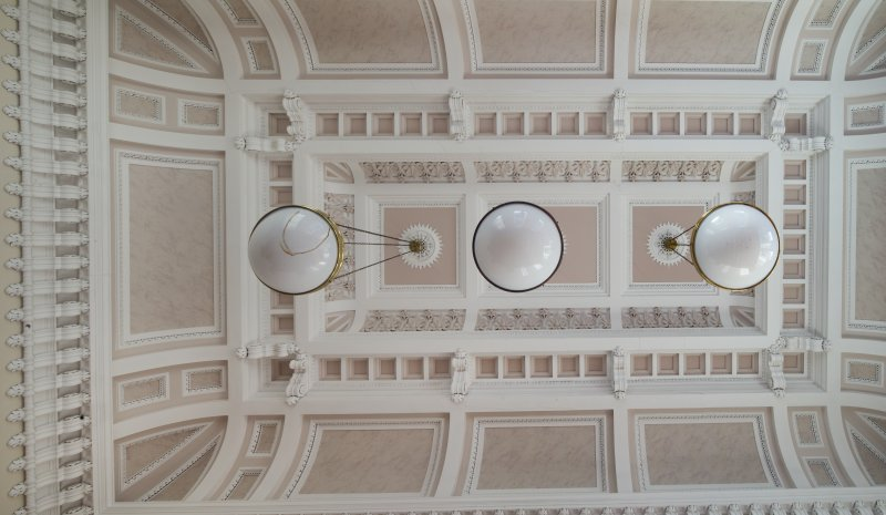 Interior. First floor. Detail of ceiling in Courtroom.