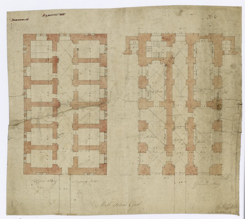Floor plans of male prison.