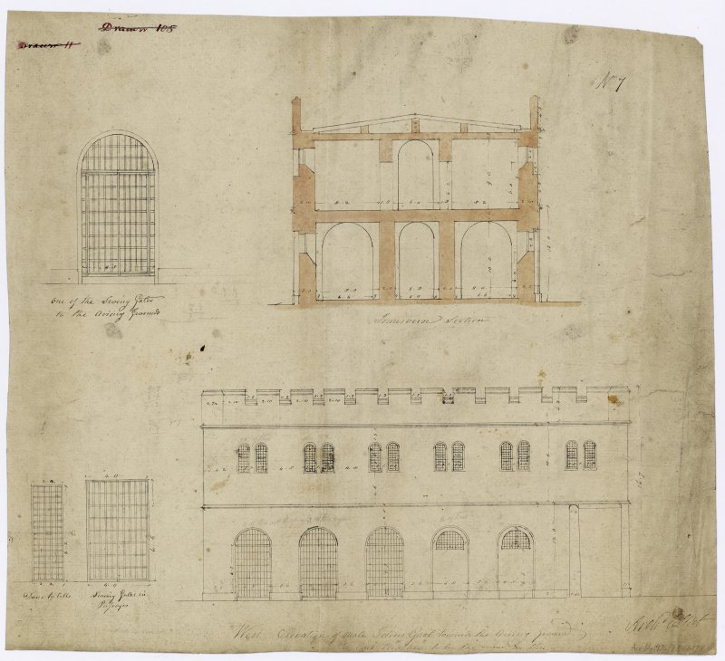 W elevation and transverse section of male prison and details of iron gates.