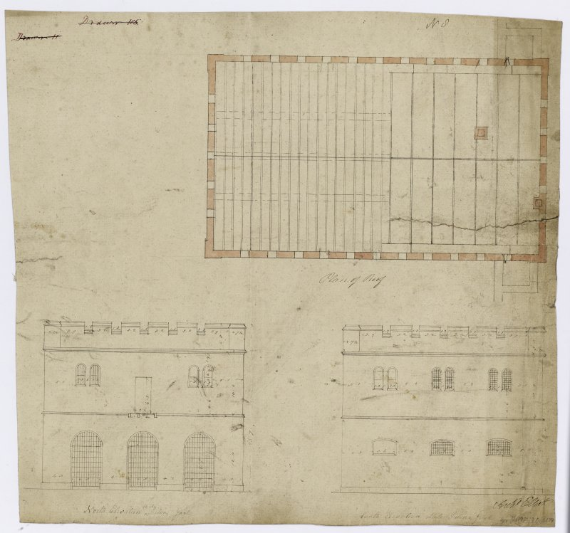 N and S elevations of male prison and plan of roof.