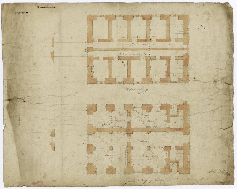 Floor plans of debtors and female prison.