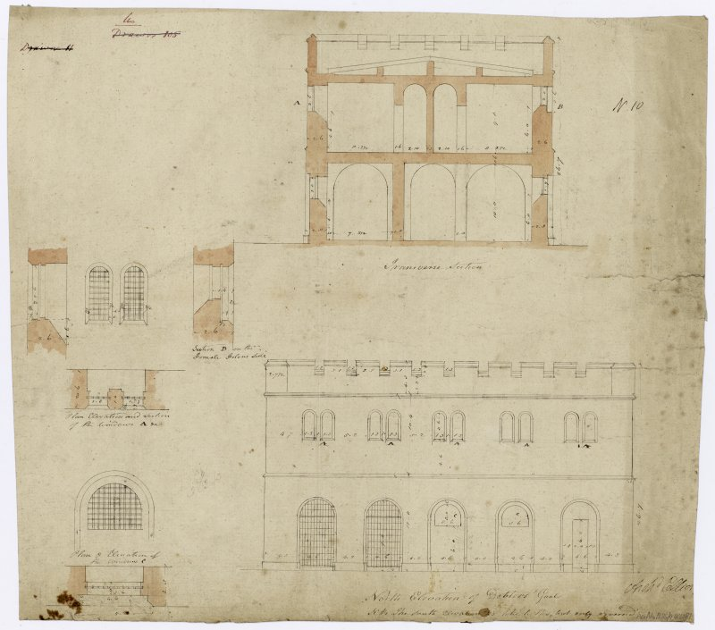 N elevation and transverse section of debtors and female prison and details of windows.