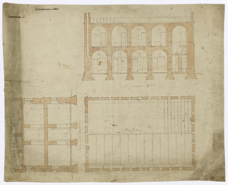 Plan of roof and longitudinal and transverse sections of Bridewell.