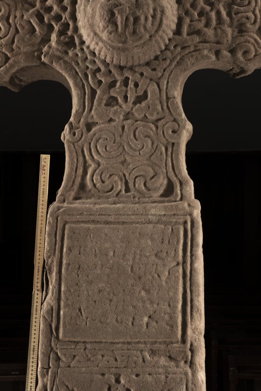Dupplin Pictish cross, detail of inscribed panel on face a (including scale)