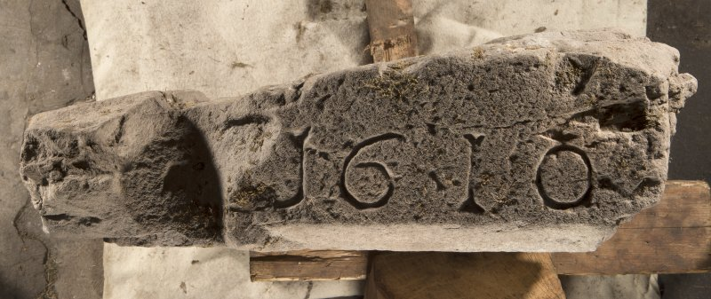 Carpow Pictish cross slab fragment face b, view showing re-use as lintel with chamfer dated 1610