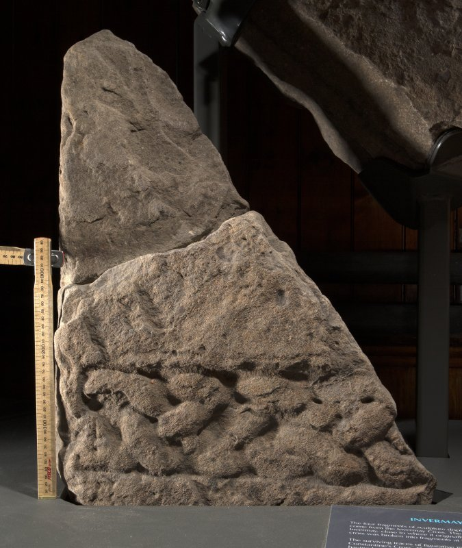 Invermay 1 &  3 Pictish cross fragments face a (including scale)