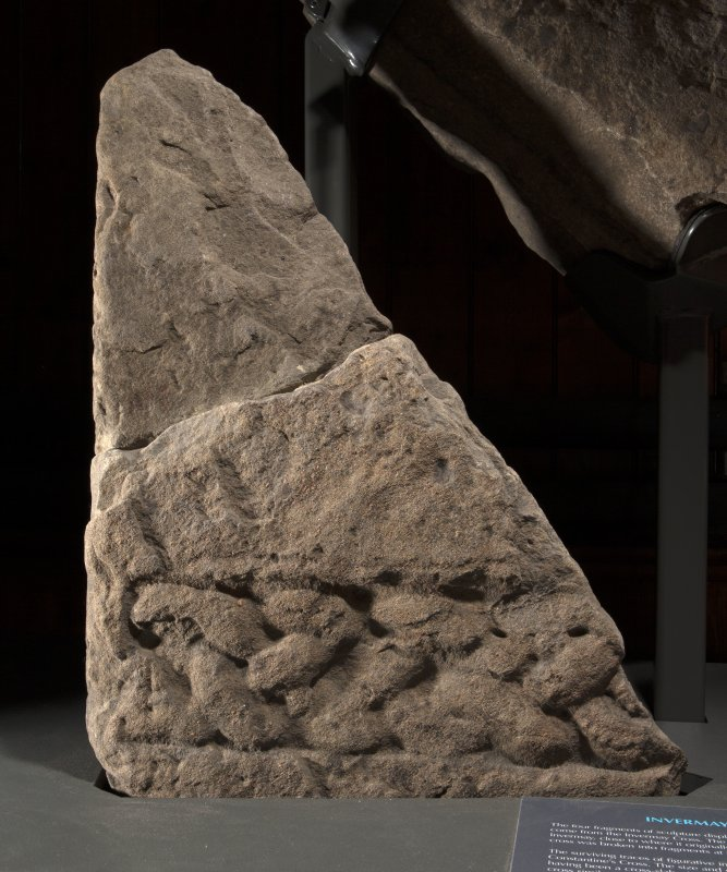 Invermay 1 & 3 Pictish cross fragments face a