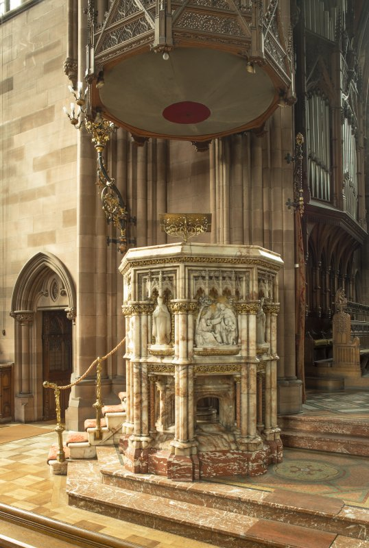 Pulpit and sounding board from south east.