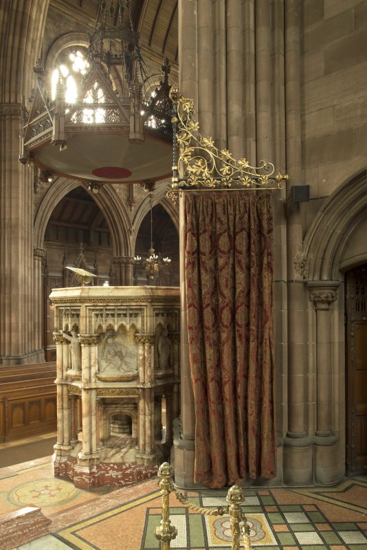 Pulpit and west baptism screen from north east.