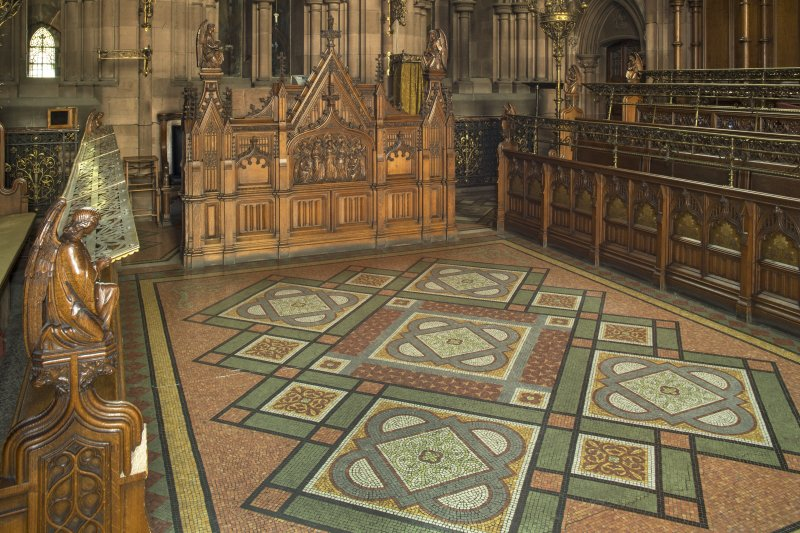 Chancel. Terrazzo flooring, organ and choir stalls.