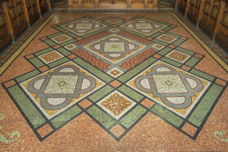 View of Chancel. Detail of terrazzo flooring.  Coats Memorial Church, Paisley