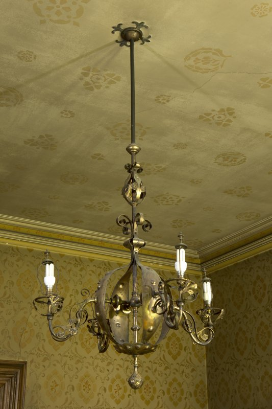 West withdrawing room. Ceiling light fitting.