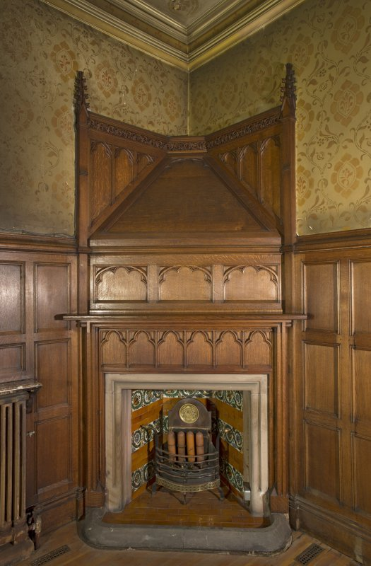 West withdrawing room. North east corner fireplace.