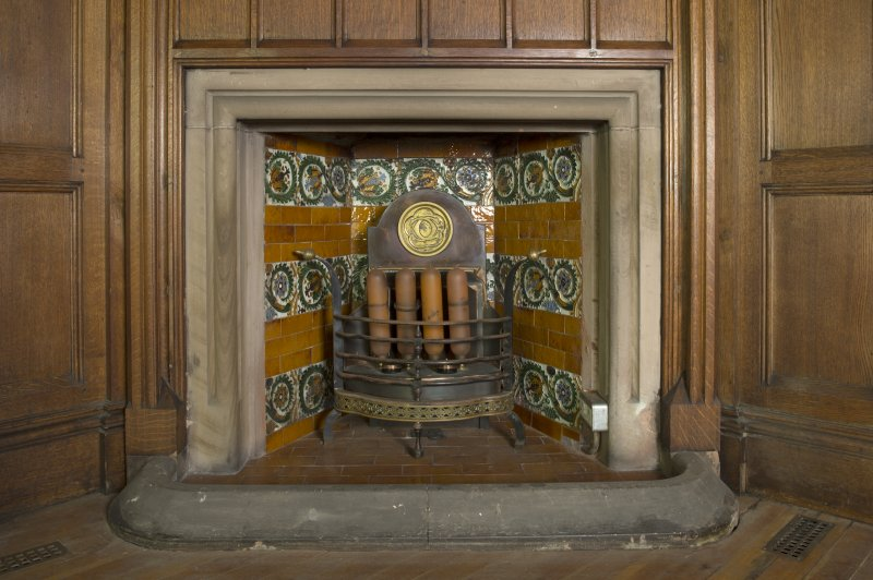 West withdrawing room. Detail of fireplace in north east corner.