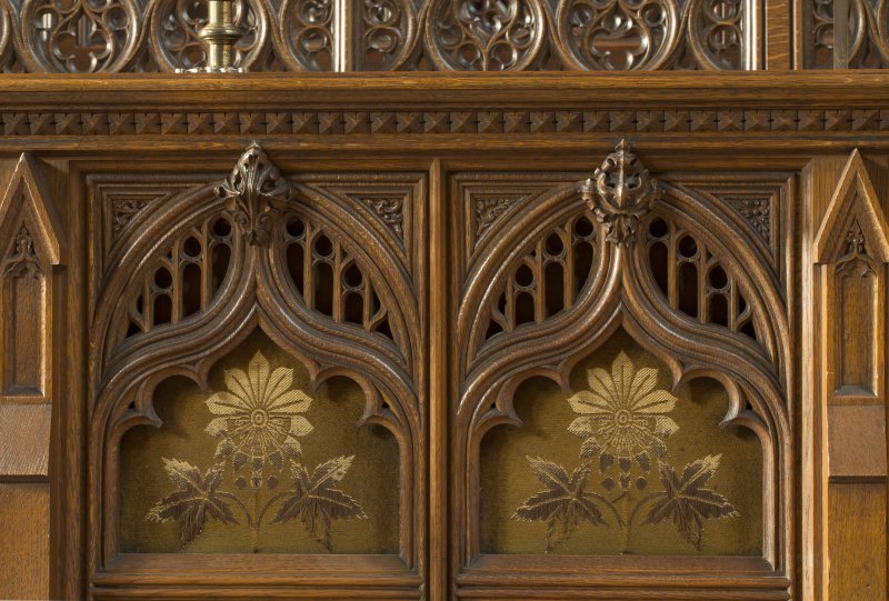 Chancel. Detail of panel on front of choir stalls.