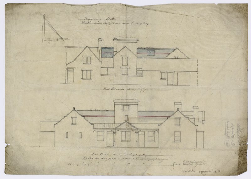 Elevations showing rooflight and altered height of ridge. Back elevation showing rooflights, front elevation showing new height of roof.