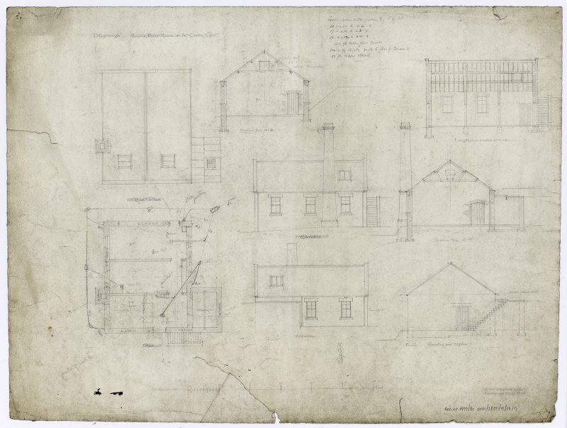 Boiler house, elevations, sections, floor plan, roof plan