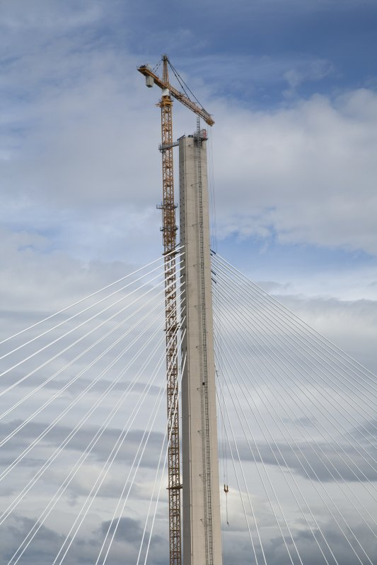 North tower, upper section cables and crane, view from road bridge to south east