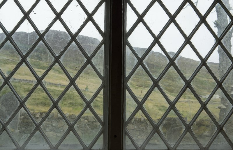 View of east window, showing location of writings etched onto the glass.