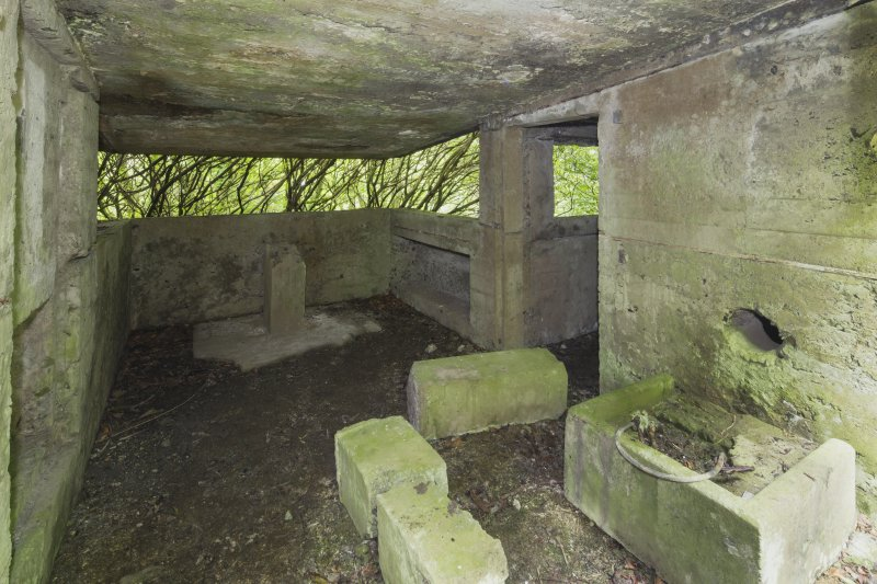 Ground floor, Fire Command Post. Interior with concrete pillars for the range finder and stove base.