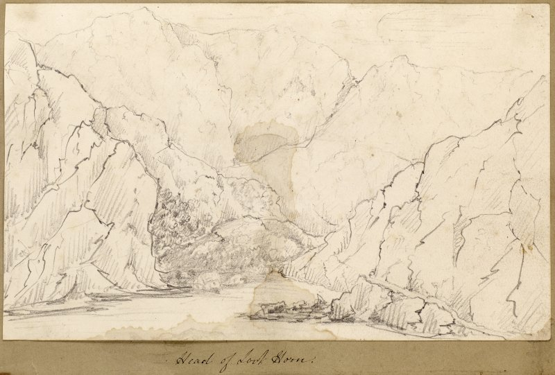 Sketch showing landscape at Loch Horn with cottages.