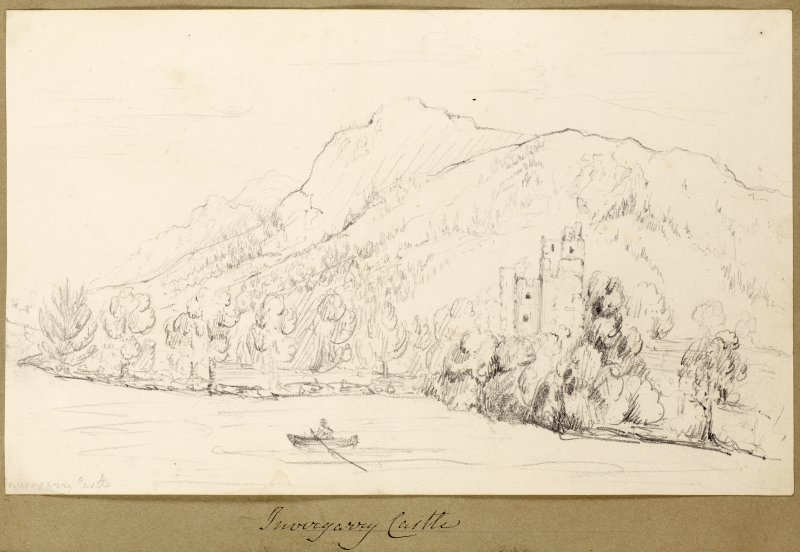 Sketch showing Invergarry Castle with loch and mountains.