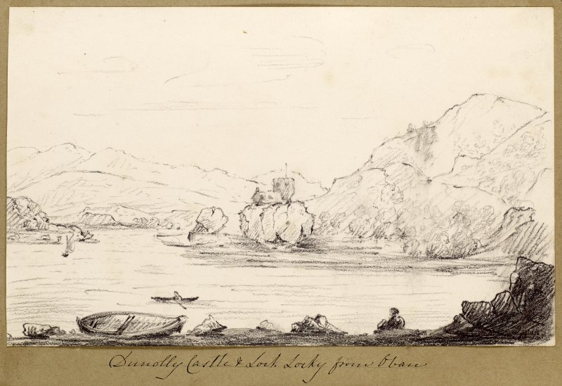 Sketch showing distant view of Dunollie Castle.