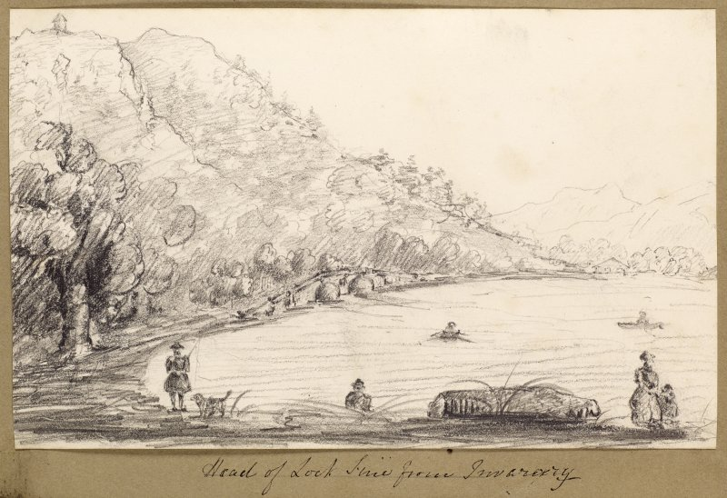 Sketch showing bridge at the head of Loch Fyne from Inveraray.