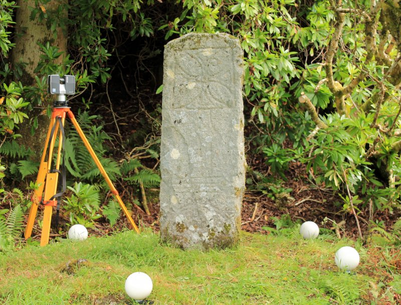 Photograph of Raasay Pictish cross slab during laser scanning
