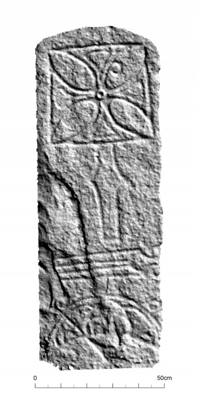 Raasay Pictish Stone: Textured hillshaded view, lit from top right
