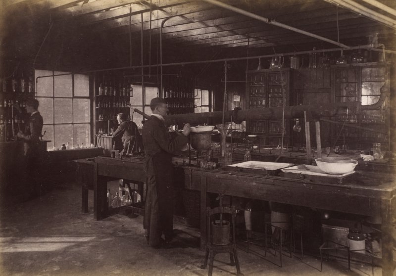 Interior view of research laboratory at Duncan, Flockhart & Co's, Edinburgh.