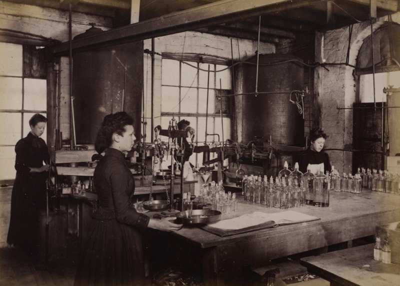 Interior view of the chloroform filling room at Duncan, Flockhart & Co's, Edinburgh.