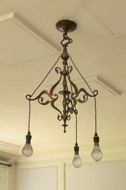 Ground floor, library, detail of light fitting