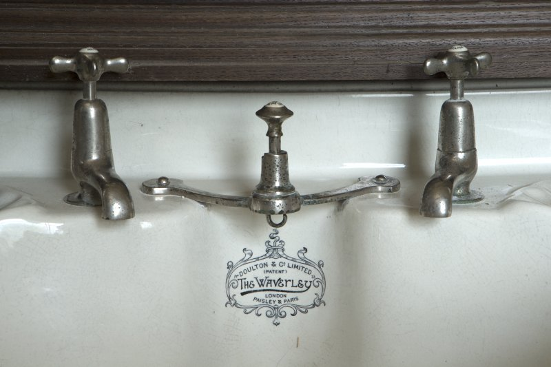1st floor, north east bathroom, detail of maker's name on wash hand basin