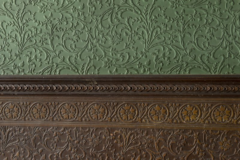 Ground floor, dining room, detail of embossed wall covering