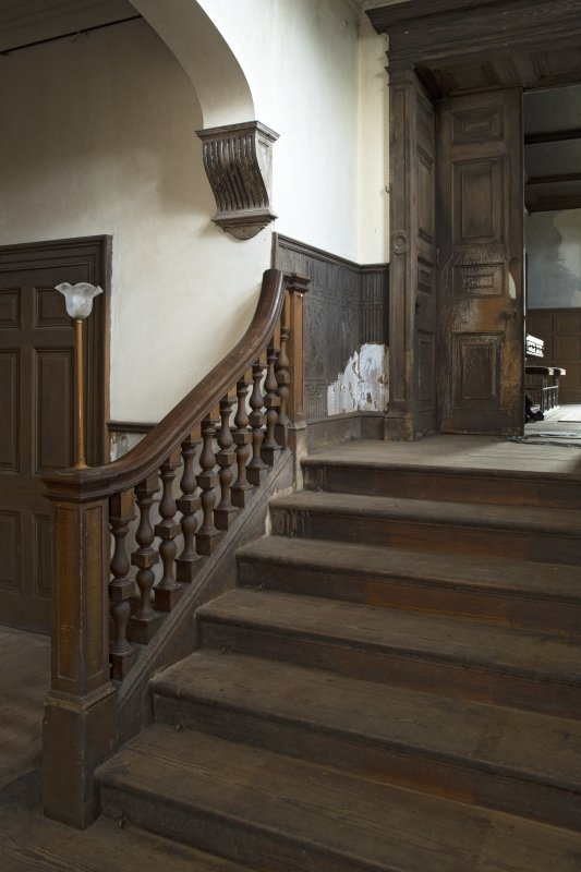 Ground floor, stair hall, detail of stairs, balustrade and corbel