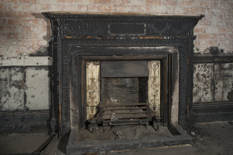 Ground floor, drawing room (now burnt out), detail of fireplace